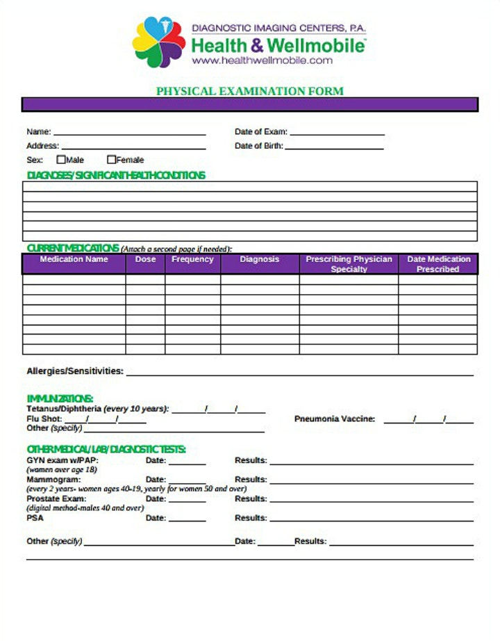 8 yearly physical form templates pdf free premium templates