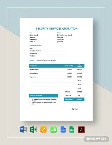security services quotation template