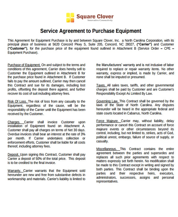 service agreement to purchase equipment