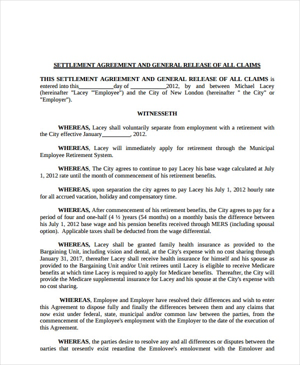 settlement agreement and general release of all claims