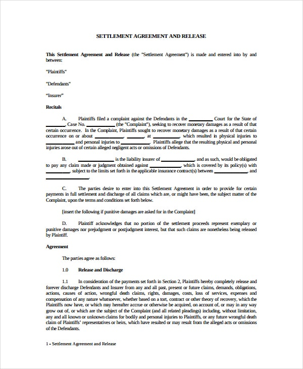 settlement and release agreement example
