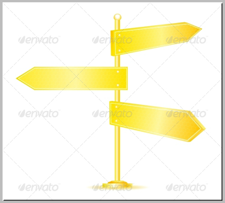 Shiny Golden Directional Sign Template