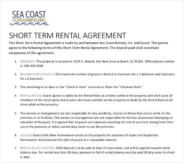 short term rental agreement example