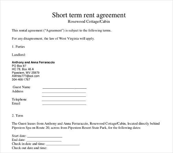 short term rental agreement template pdf