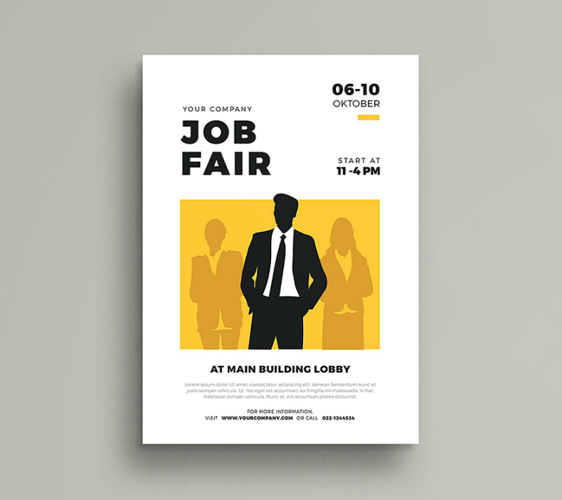 Silhouette Businessman Job Fair Flyer Template