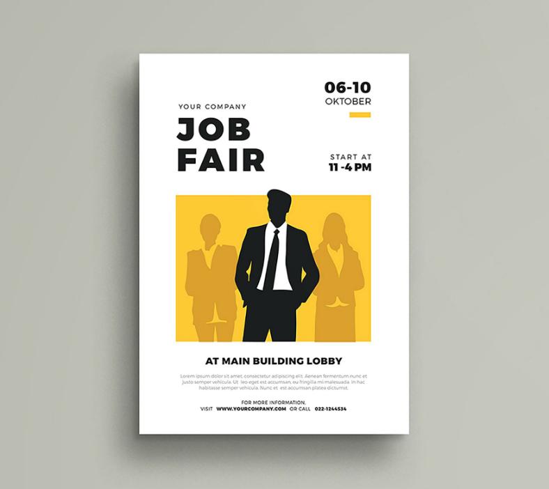silhouette businessman job fair flyer template 788x702