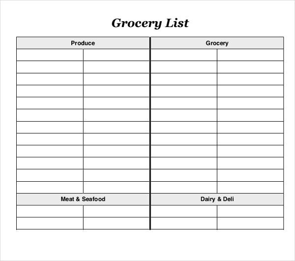 simple blank grocery list template