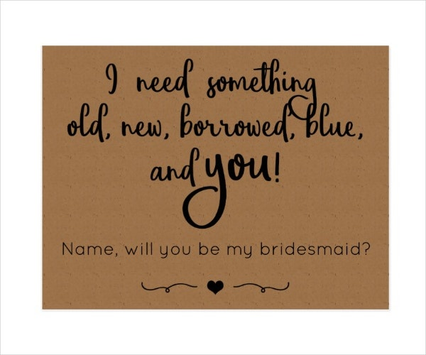 Simple Bridesmaid Postcard Template