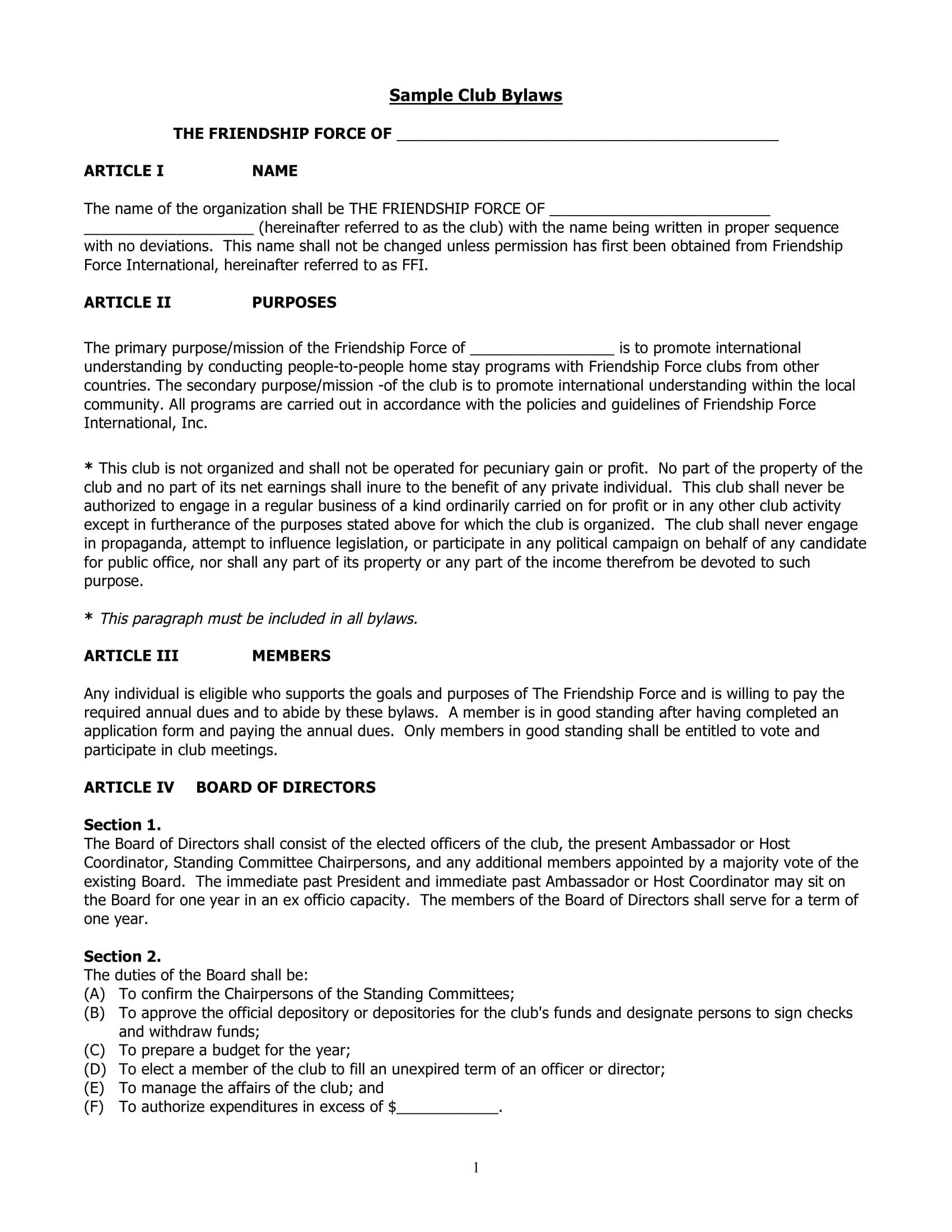 simple club bylaws sample form