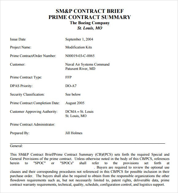 Simple Contract Brief Or Sample Summary Template