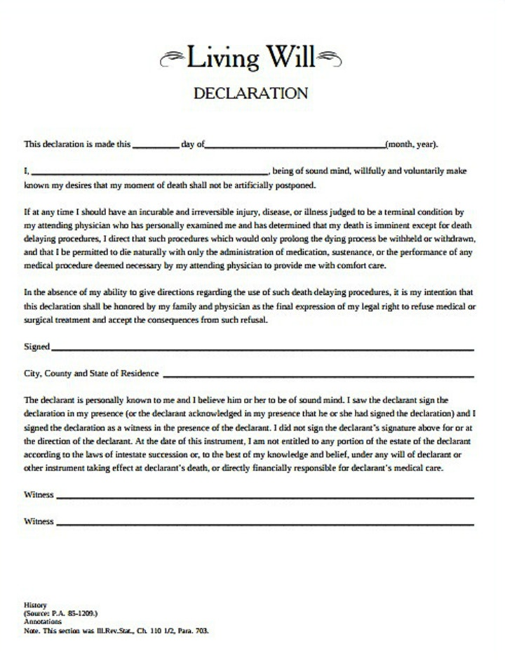 simple-living-will-declaration-template
