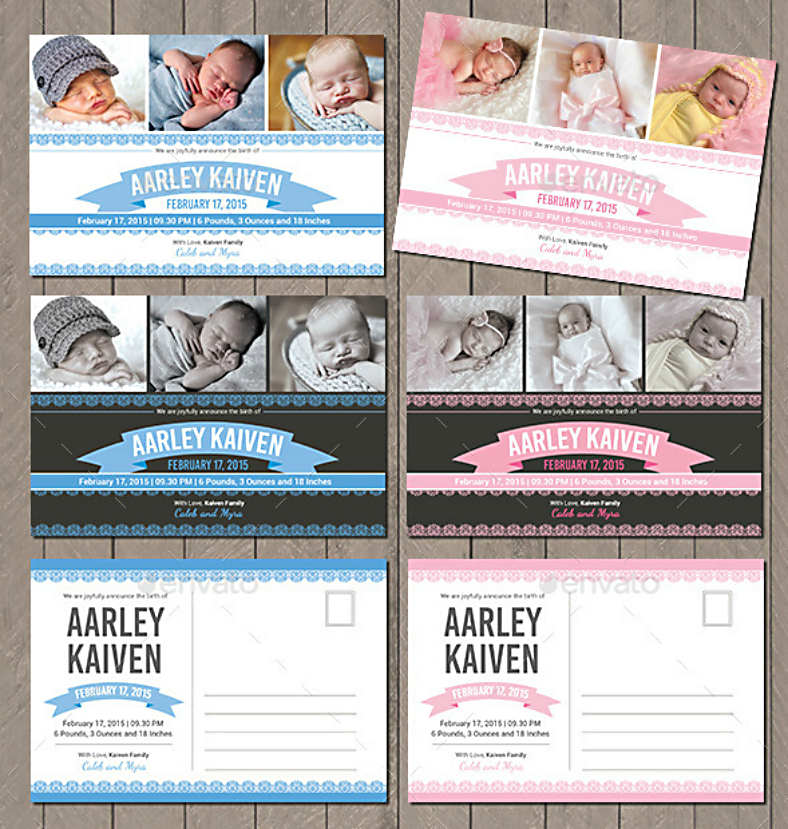 Simple Modern Baby Announcement Postcard