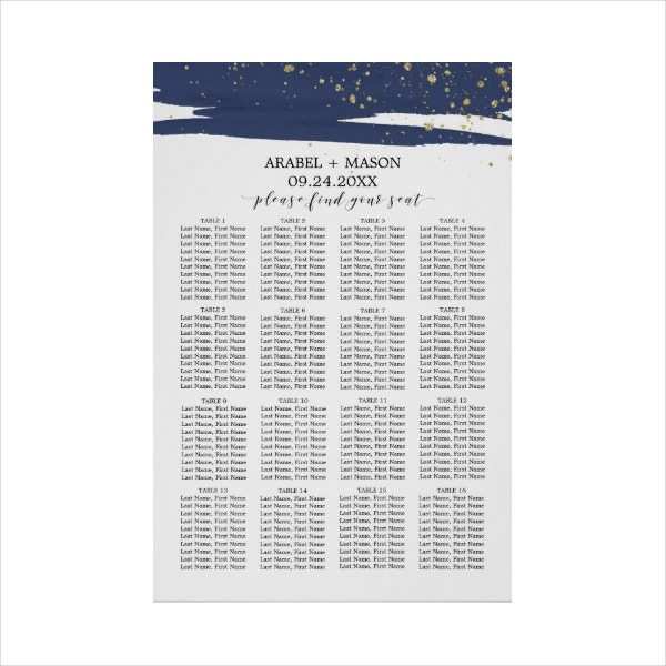 Simple Navy Seating Chart