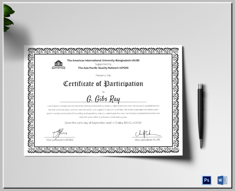 Simple Printable Participation Certificate Template