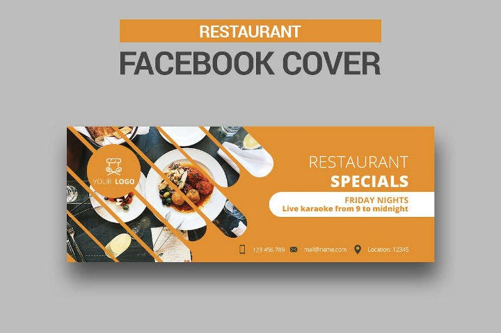 simple restaurant facebook cover timeline template