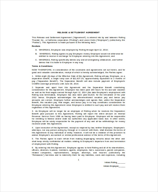 simple settlement and release agreement
