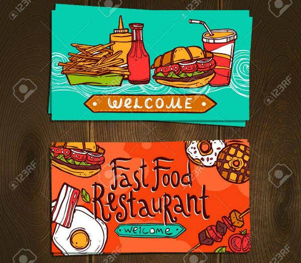 Sketch Fast Food Restaurant Business Card Template