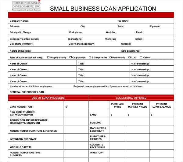 small business loan application template