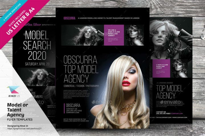 sophisticated talent agency flyer template