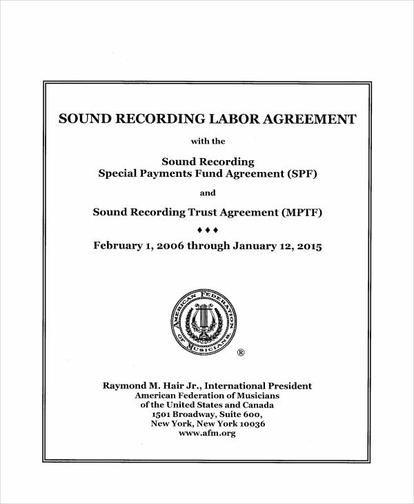sound recording agreement