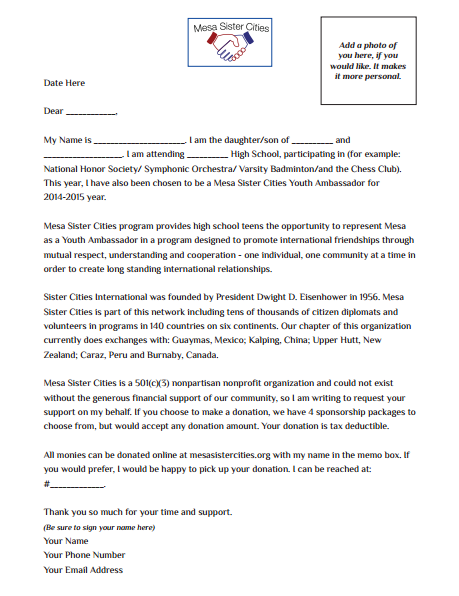 Sponsorship and Fundraising Sample Letter