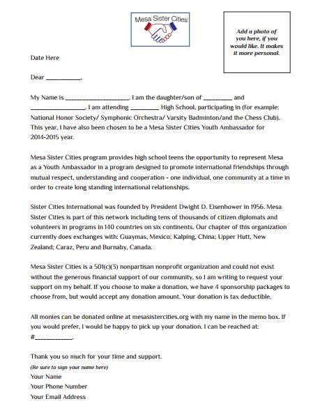 sponsorship and fundraising sample letter