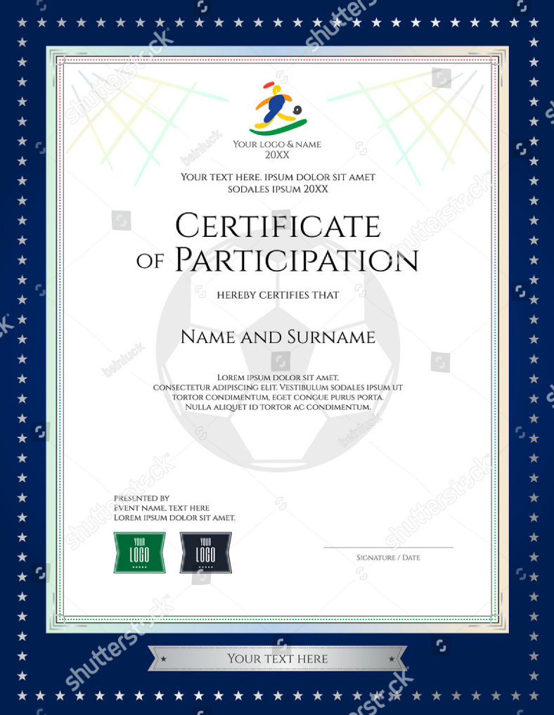 Sports Themed Certificate of Participation Template