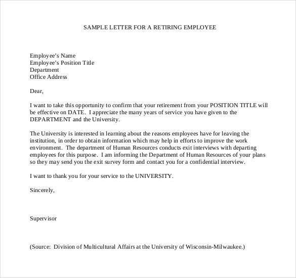 retirement letter to employee from employer 2  Confirmation of Retirement Letter to Employee - PDF | Free ...