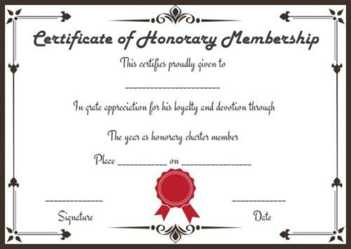 stamped formal honorary membership certificate