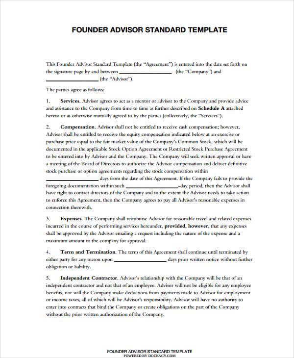 standard advisor agreement