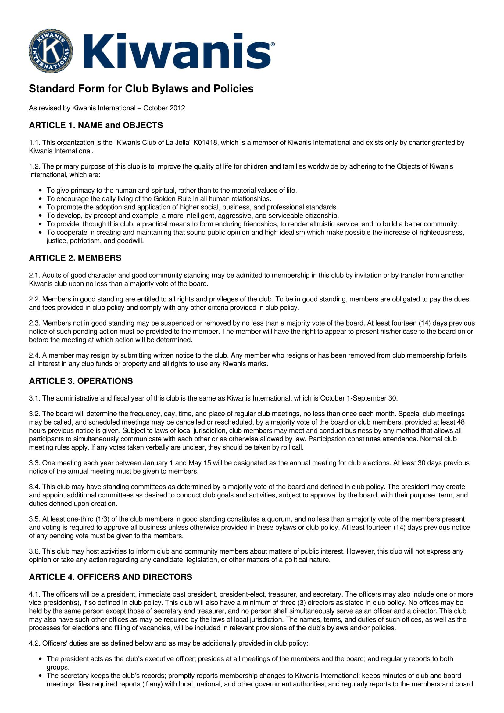 standard club bylaw form