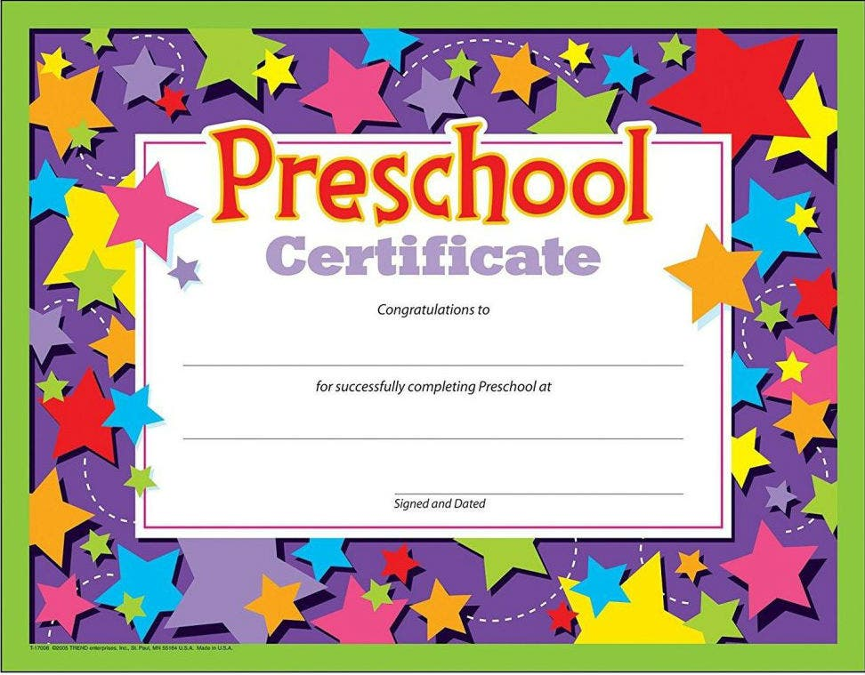 star border preschool certificate template