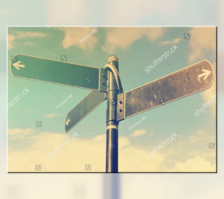 Stock Multidirectional Road Signage Template