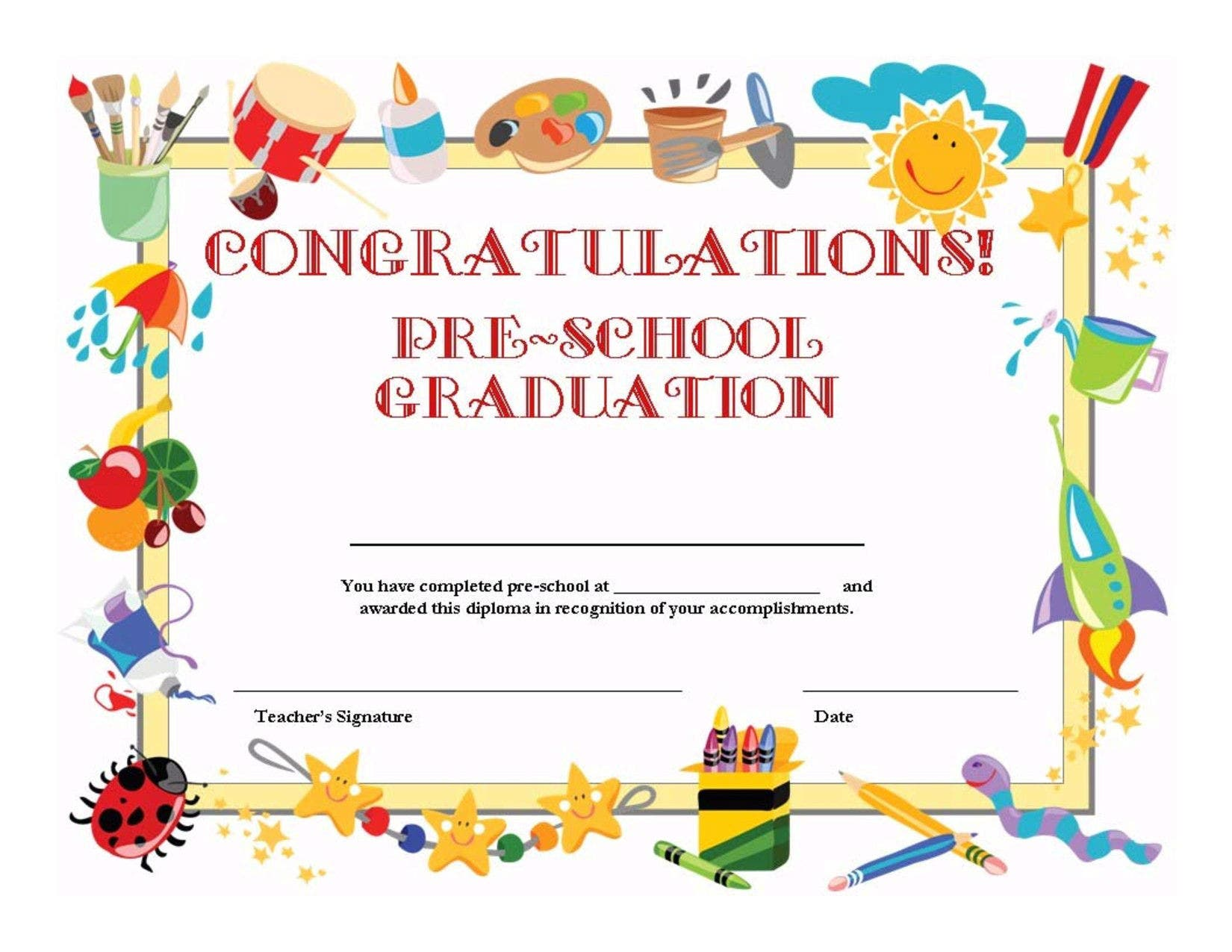 stock preschool graduation certificate template