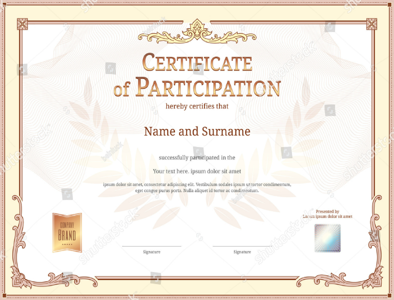 Stock Retro Luxurious Participation Certificate Template