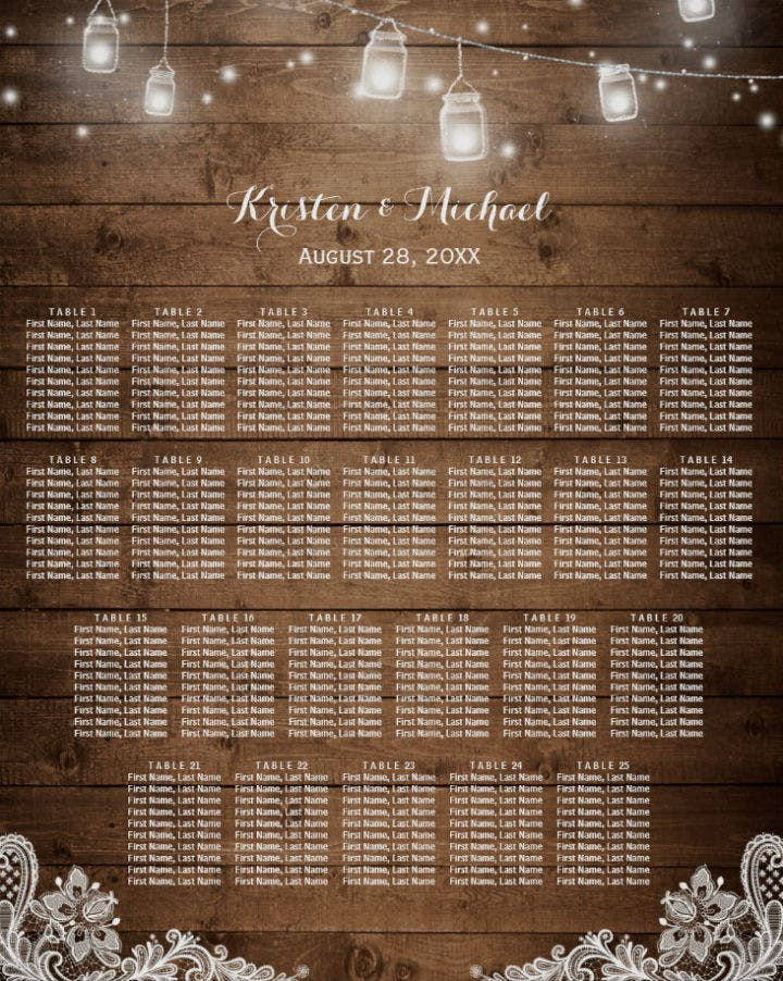 string lights design wooden wedding seating chart template