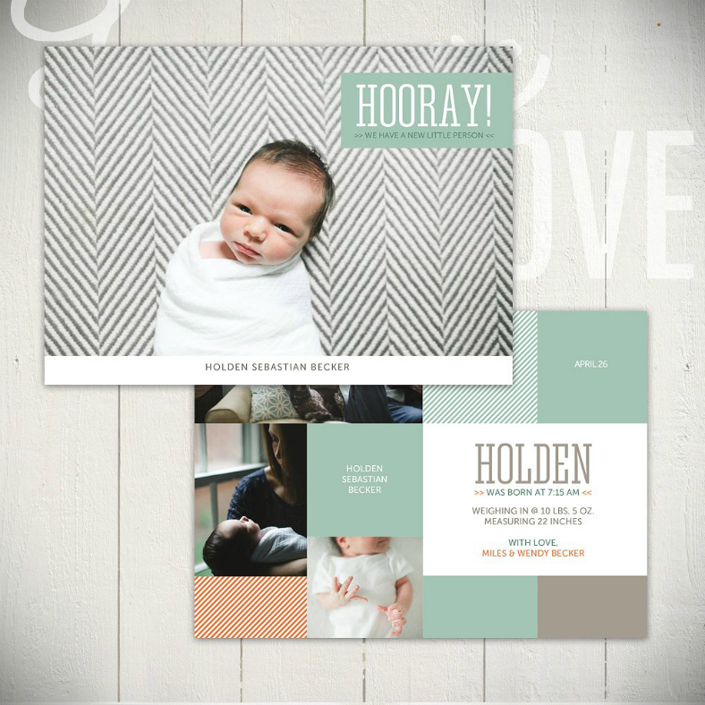 striped pattern baby announcement postcard 788x788