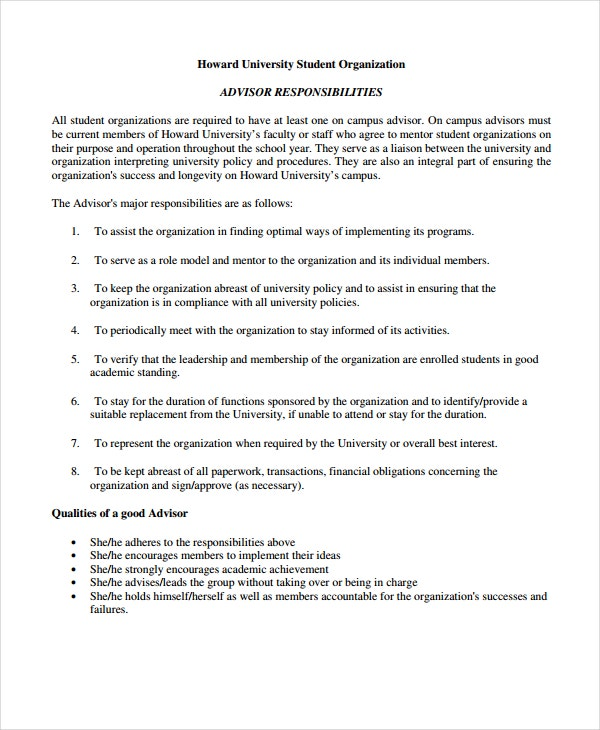 student group advisor agreement