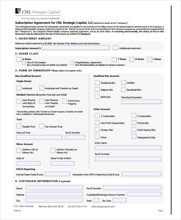 subscription agreement example