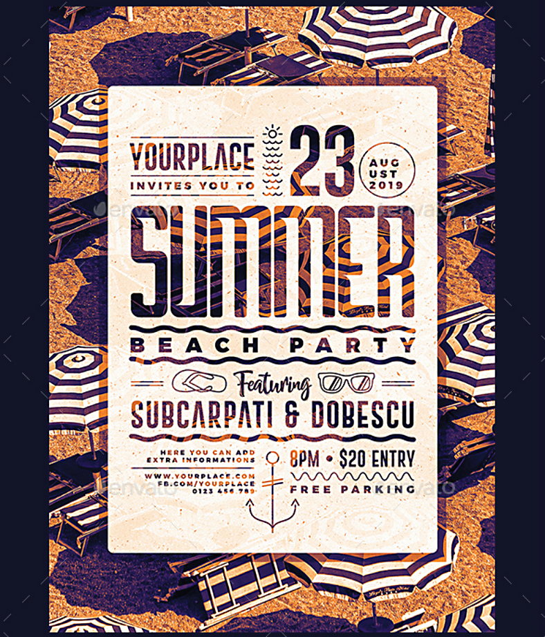 summer beach party flyer template 788x921