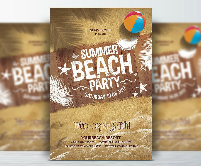 Summer Beach Sand Flyer Template