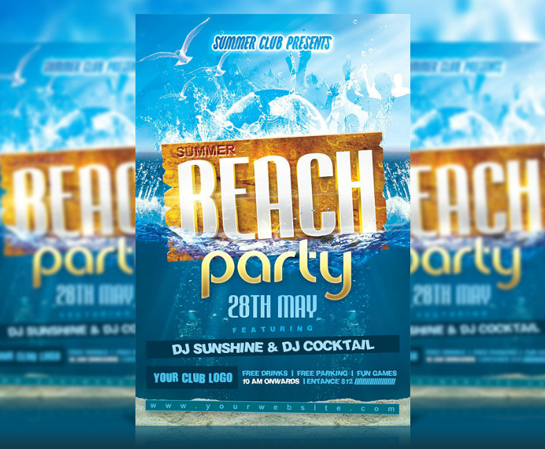 sunshine cocktail beach flyer template 788x650