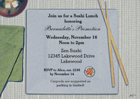 Sushi Lunch Invitation
