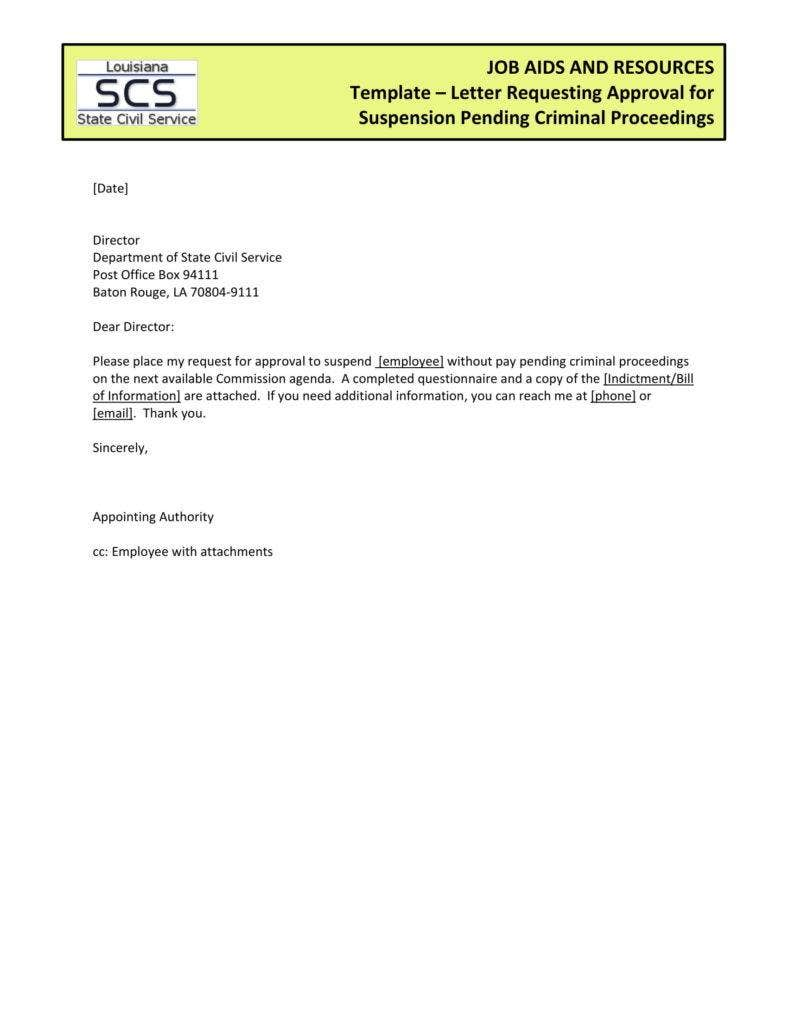 Suspension Request Approval Letter