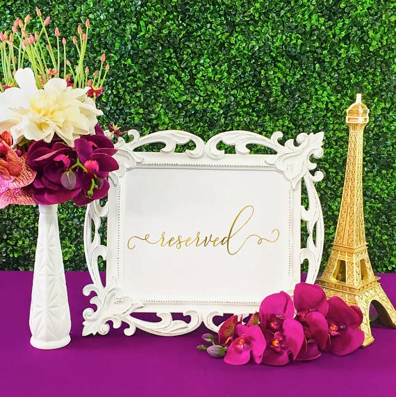 Table Reserved Wedding Signage