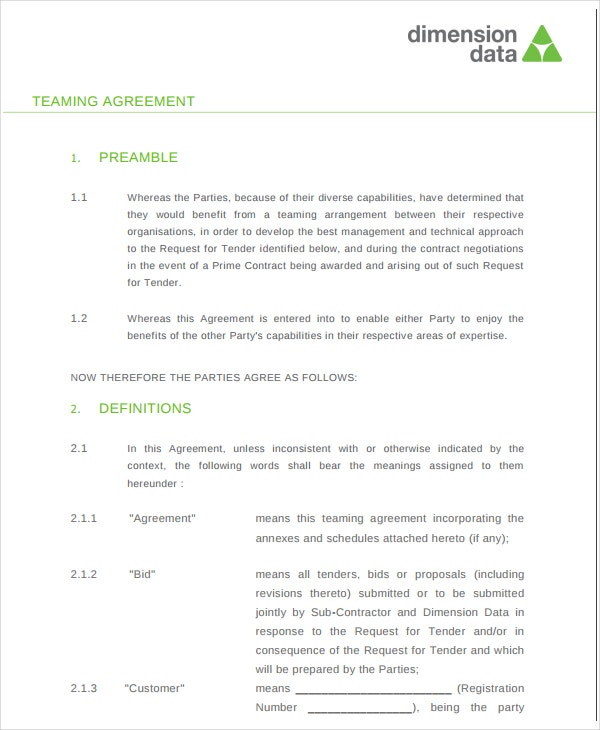 8 Teaming Agreement Templates Pdf Word Free Premium