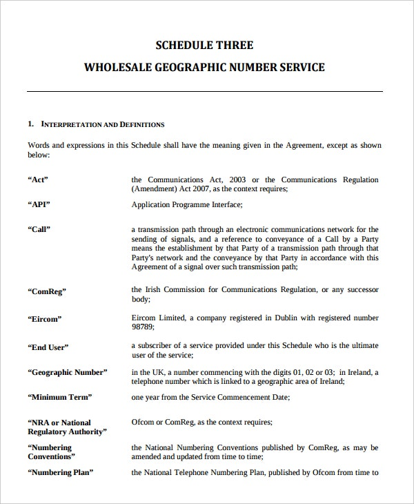 telecommunications wholesale service agreement