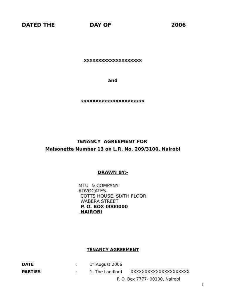 tenancy agreement template 788x1020