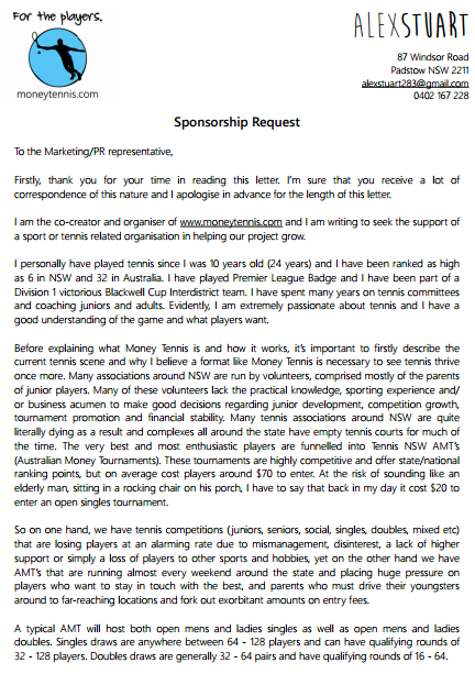 Tennis Sponsorship Request