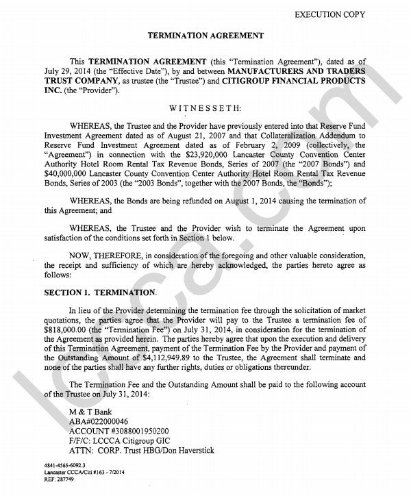 termination agreement example
